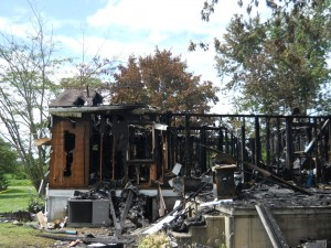 house damaged from fire